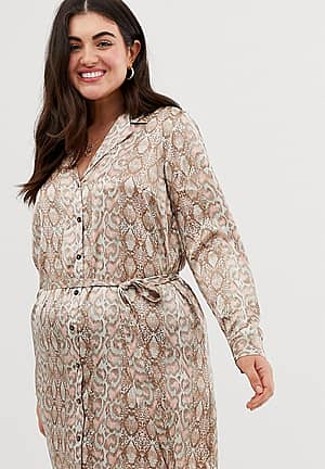 shirt dress with tie waist in snake print