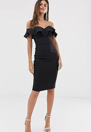 bodycon dress with sweetheart neckline with fill in black