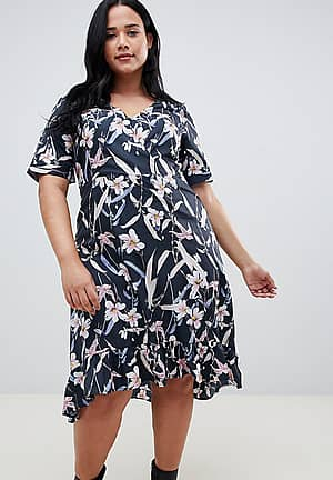 capped sleeve floral wrap dress