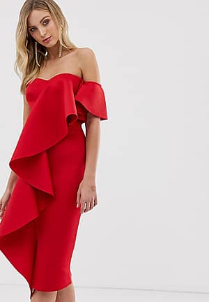 exclusive bandeau midi dress with frill detail in red