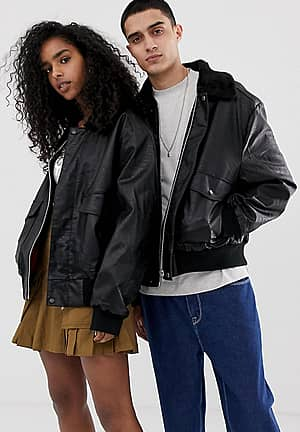 Unisex faux leather bomber with borg collar