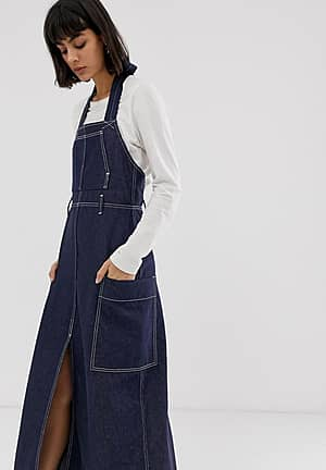 recycled edition apron denim dress in blue
