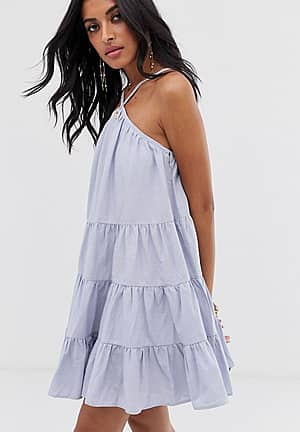 cami swing dress with tiered volume skirt