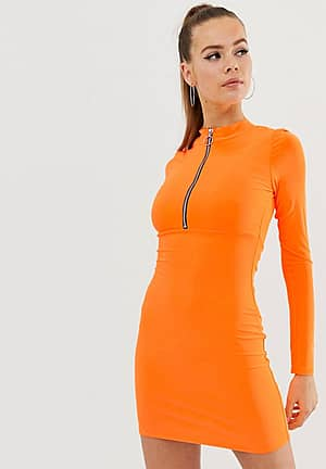 zip front bodycon dress in neon orange