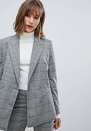 check blazer co ord in grey