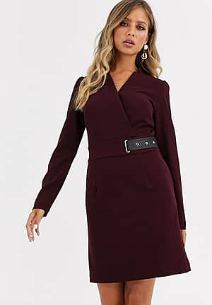 buckle detail pencil dress in berry