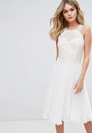 Pleated Dress With Cutaway Lace Bodice