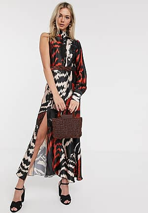 satin midaxi dress with one shoulder in abstract print