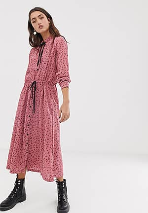 ditsy floral tie neck maxi dress