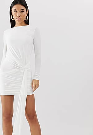 Club L slinky tie side ruched mini bodycon dress in white