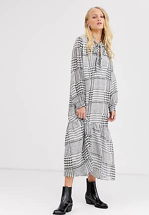 check smock maxi dress with tie neck detail