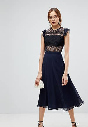 Lace Midi Dress with Lace Frill Sleeve