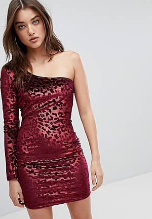 One Shoulder Bodycon Dress In Velvet Leopard