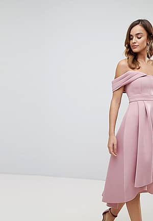 ASOS Bardot Cold Shoulder Dip Back Midi Prom Dress