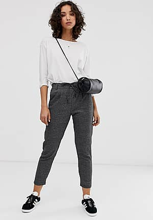 check trousers with tie waist in dark grey