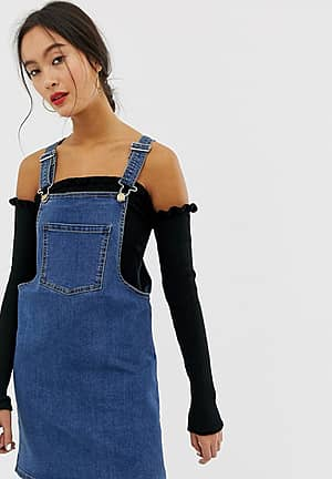 denim dungaree mini dress