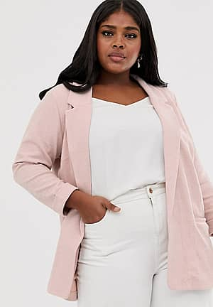 New Look Curve stretch blazer in pink