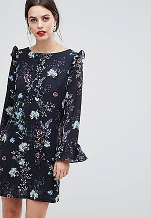 long sleeve printed floral shift dress