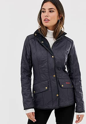 quilted jacket with cord collar
