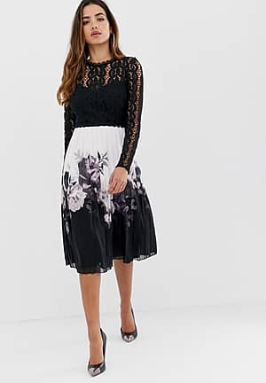 2 in 1 lace detail dress with pleated skirt in multi