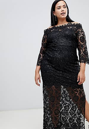 sequin lace bardot maxi dress with side splits in black