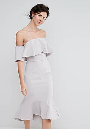 Exagerated Frill Bandeau Midi Dress With Peplum Hem