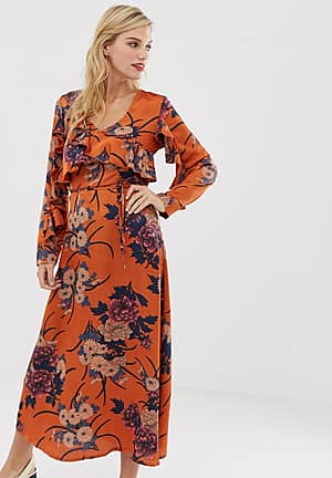 floral midi dress with ruffle front and sleeve detail