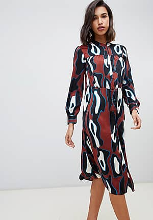 abstract midi smock dress in rust
