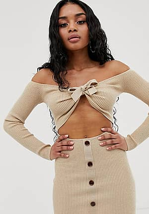 knitted bardot mini dress with tie detail in beige