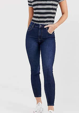 super high waisted skinny jean in navy blue