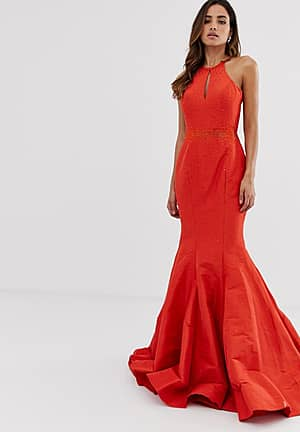 fishtail backless maxi dress with ruffle detail