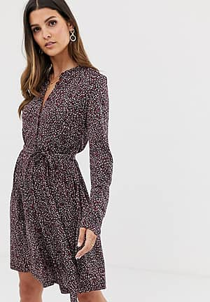 belted animal jersey shirt dress