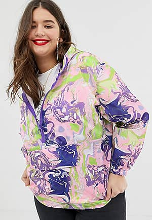 ASOS DESIGN Curve over the head rain jacket in marble print