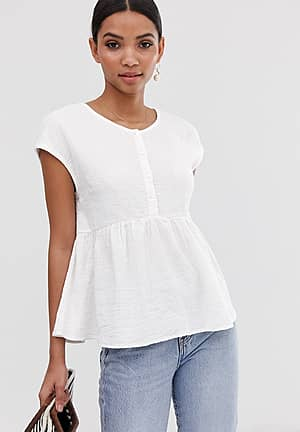textured smock top with button detail