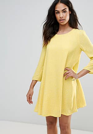 Swing Dress With Puff Sleeves