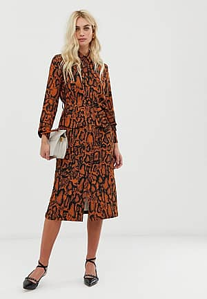 leopard print shirt dress with belt detail