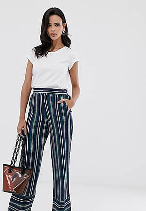 stripe wide leg trouser in navy and green stripes