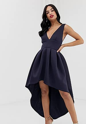 exclusive plunge front high low skater dress in navy