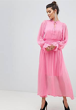tie neck chiffon spot maxi dress in pink
