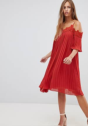 cold shoulder pleated midi dress with crochet trim