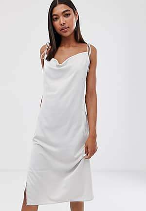 cami dress with cowl neck in light grey