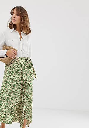 ditsy floral wrap skirt in green