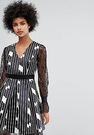 Structured Abstract Print Skater Dress With Fluted Lace Sleeve