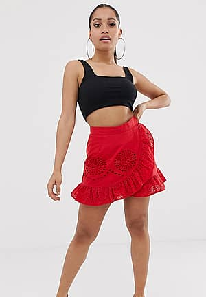 broderie skirt with frill detail in red