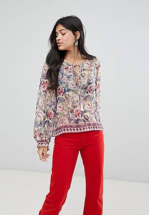 Victoria Printed Tassle Front Blouse
