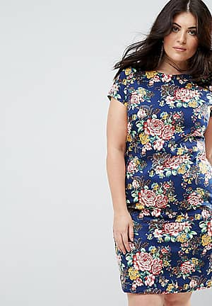 Floral Pencil Dress With Ruched Side