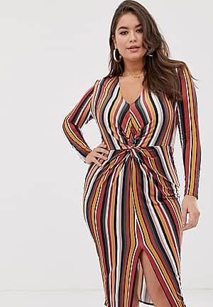 exclusive plus slinky twist front midi dress in multi stripe