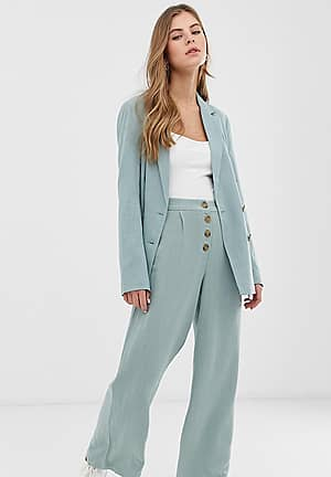 wide leg trouser with button top in mint green