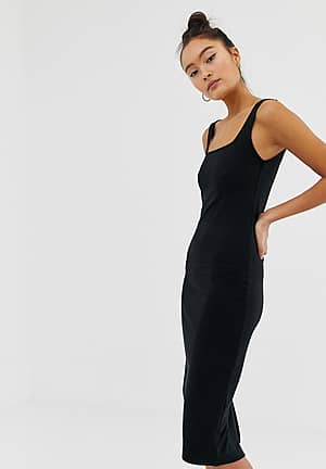 midi length jersey dress in black