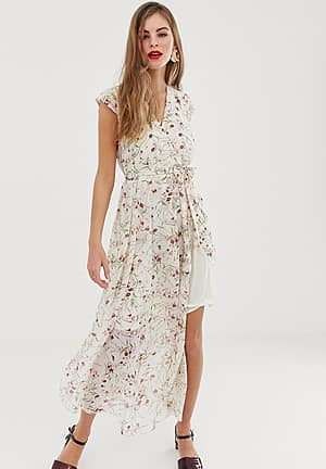 Vigga floral belted maxi dress